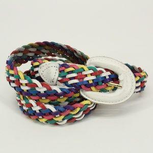 Vintage Rainbow Braided Leather Belt